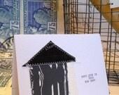 Handmade Screen Printed Fabric Moving Home / Housewarming Card