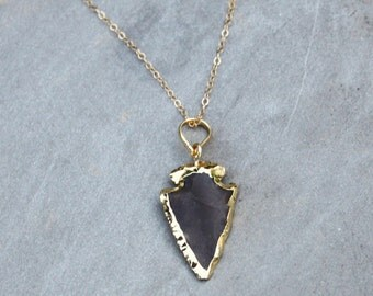 Dainty Arrowhead Necklace, Boho Necklace, Stone Pendant Necklace, Jasper Stone Necklace, Layering Necklace, The Silver Wren