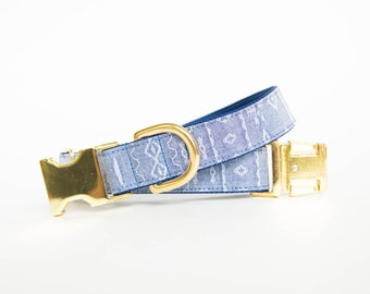 Aztec Tribal Chambray Dog Collar (Gold Hardware optional)