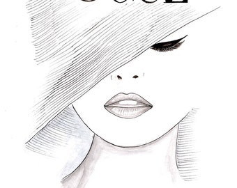 Watercolor Vintage 1950's Vogue Poster, Vogue Face Cover Print, Hand Drawn Black and White Fashion Illustration, Girls Room Décor by Zoia