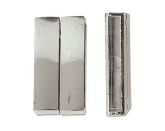 Smooth Magnetic Bar Clasp for Flat or Round Cording 43429 (1), Silver Plated Jewelry Clasp, Leather Clasp, Necklace Clasp, Bracelet Clasp