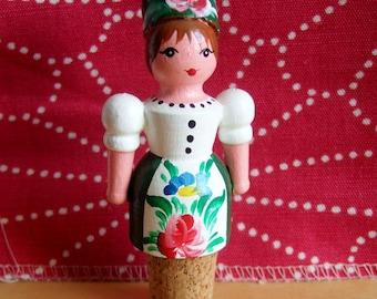 Vintage Wooden Doll Cork Stopper - Traditional Folk Art Costume
