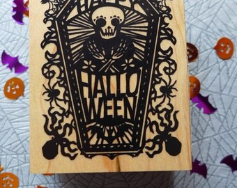 Happy Halloween Skeleton in a Coffin Rubber Stamp