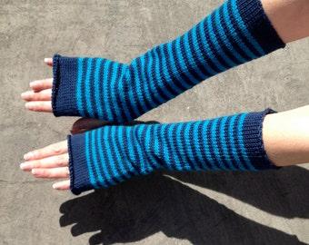 Arm Warmers Fingerless Gloves Striped Mittens Mitaines Merino Mohait Armstulpen Wrist Warmers Arm Sleeves