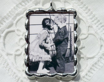 "Customized Photo Charm for Bridal Bouquet, the Groom or Wedding Party. ""Victorian"" frame  with photos and/or quote"
