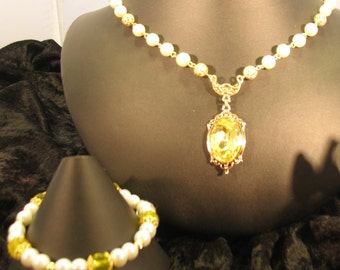 "Elizabethan ""Fae"" Necklace Set in Yellow Faceted Crystal with White Pearls and Gold Filigree"