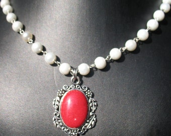 "Red ""Mountain Jade"" Elizabethan Necklace"