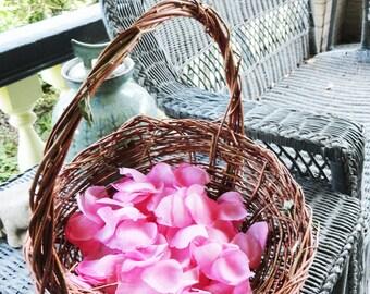 Twiggy Flower Girl Basket, Open Garden Basket, Earthy Basket, Natural , Dark Brown, Autumn Olive, LA
