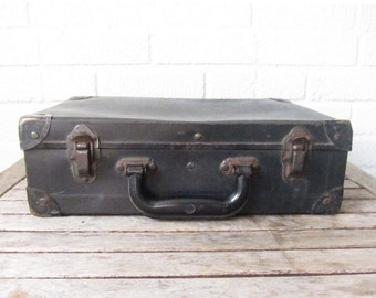 Vintage Black Carboard Suitcase - Antique 1930s Distressed Hard Case  - Luggage w/ Metal Corners - Fiber Board Small Suitcase - Train Case