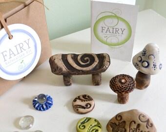 Miniature Fairy Garden kit, Fairy furniture gift set: 8 items cast marble stone