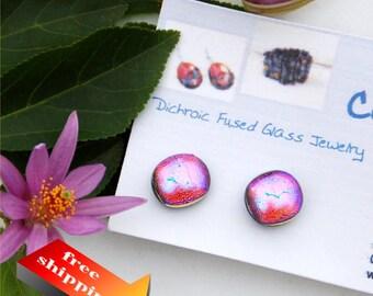 40 Fused dichroic glass earrings, pink, orange, blue