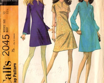 1960s McCall's 2045 Vintage Sewing Pattern Misses A-line Dress Size 10 Bust 32-1/2