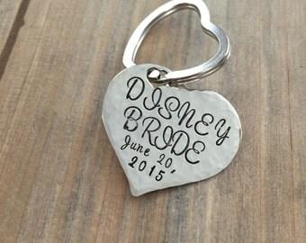 Bride Keychain - Hand stamped Wedding Date Keychain