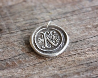 Vintage Inspired Initial Pendant - Fine Silver Wax Seal PENDANT only