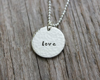 Hand Stamped Sterling Silver 1 Name Tag Necklace