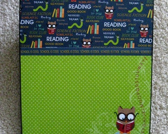 OWL books Altered Clipboard 9x12 Letter size for School or Teacher Gift