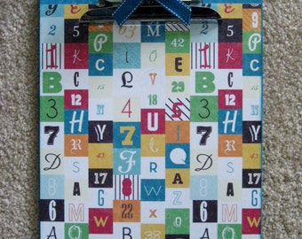 TEACHER letters and numbers Altered Clipboard 9x12 Letter size for School or Teacher Gift