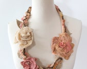 Felted Flower Necklace Wearable Fiber Art - Dusty Pink,  Golden and Cream