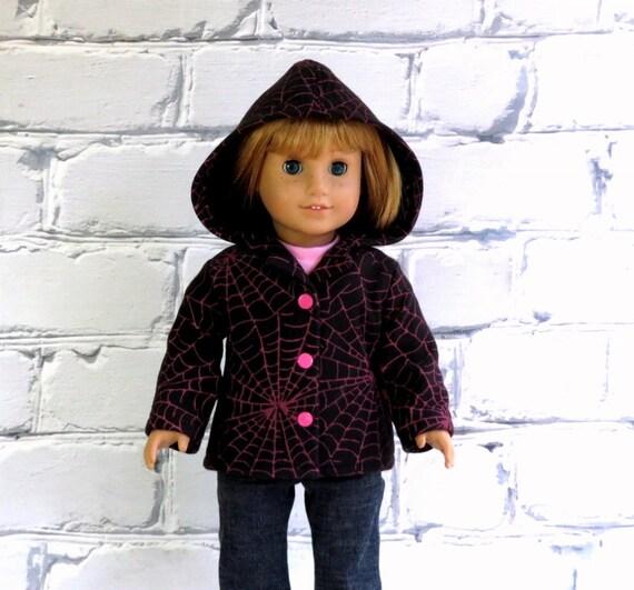 AG Doll Clothes Halloween Jacket, Black Pink Spiderweb Fleece Hoodie, fits American Girl, Doll Coat