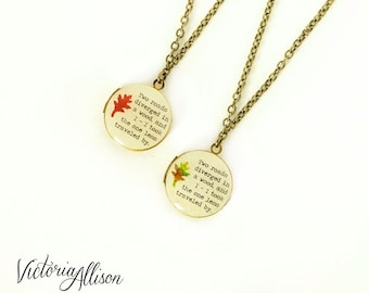 Small Leaf Locket Necklace with Robert Frost Quote, The Road Not Taken, Poem, Poetry, Brass or Silver, Autumn Leaves, Paper Anniversary