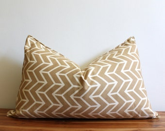 CLEARANCE SALE! Schumacher Pillow Cover - Chevron Print - Tan and Cream - Designer Pillow