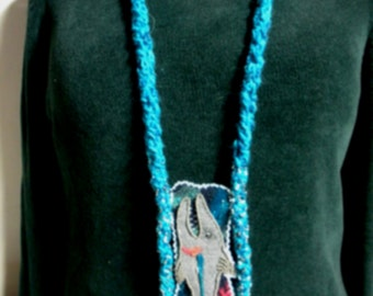 FREE SHIP Bad Fishy Needle felted fish tunic pendant with beaded fringe, crochet chain in turquoise blue, gray, coral - BearlyArtDesigns
