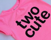 """TWO CUTE Toddler Girl, """"two cute"""" T-shirt - Pink shirt, Black Ultrasuede Lettering - Etsy kid's fashion, Birthday T-shirt"""