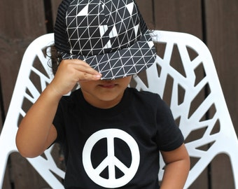 Peace and Love T-shirt, Black with White, Grey, Red, Fuchsia, 12-18-24 mo, 2T, 3T, 4T, boy girl, peace sign, Etsy kid's fashion, cool shirt