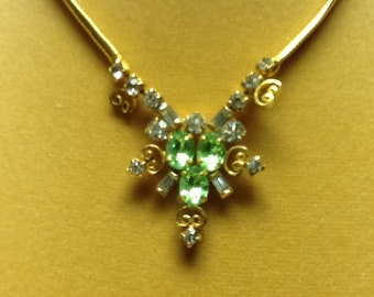 Signed LEO GLASS green rhinestone necklace VINTAGE
