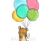 Nursery Art -- Bear's Balloons -- Art Print
