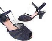 Vintage 50s Heels // 1950s Heels // Navy Blue Heels // Mesh Heels // Mesh Peep Toe Heels - sz 9