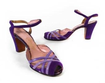 SALE - Vintage 50s Heels // 1950s Heels // Purple Suede Heels // Tweedies Heels - sz 8
