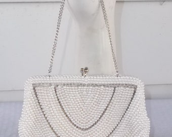 Clearance 1960s Vintage Beaded Faux Pearl Evening Bag Purse