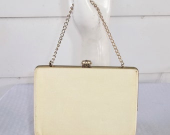 1960s Vintage Yellow Crepe Purse with Chain Handle