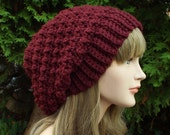 Oxblood Wine Crochet Hat, Womens Slouchy Beanie, Oversized Slouch Beanie, Chunky Hat, Slouchy Hat, Winter Hat, Slouch Hat