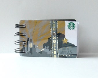 STARBUCKS Los Angeles Upcycled Gift Card Spiral Notebook Notepad