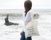 Ready to ship / Screenprinted Canvas Tote Bag / sail out to sea and knit new things