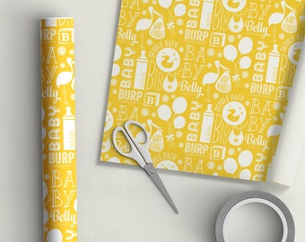 Clearance | B is for Baby | Gift Wrap | Baby Shower | Gender Neutral | Yellow