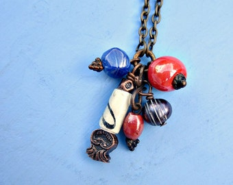 Colorful Pearl Glass and Paper Bead Cluster Chain Necklace: Oaxaca WAS 15.00