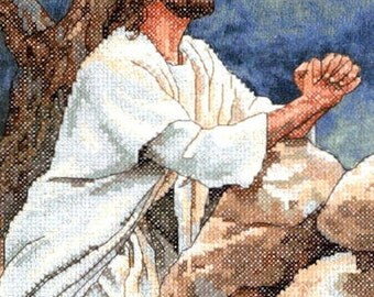 Prayer at Gethsemane Stamped Cross Stitch Kit Dimensions