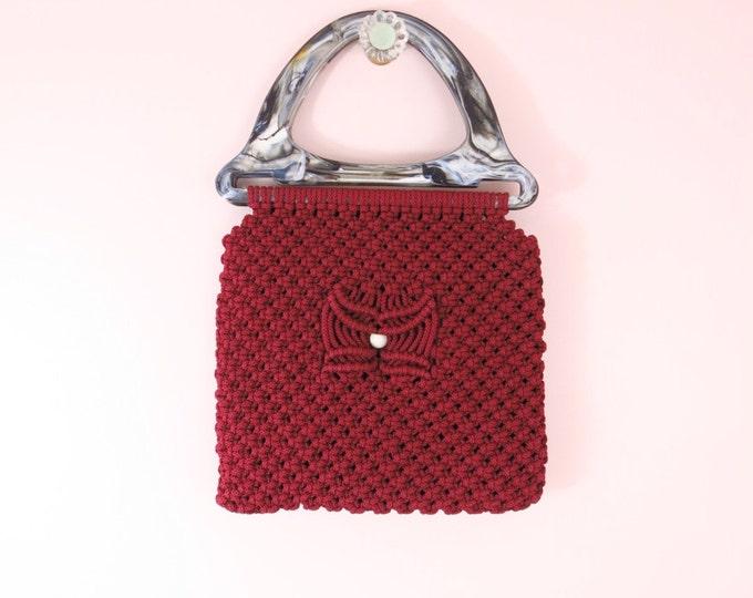 1960s Mod Wine Red Macrame Handbag