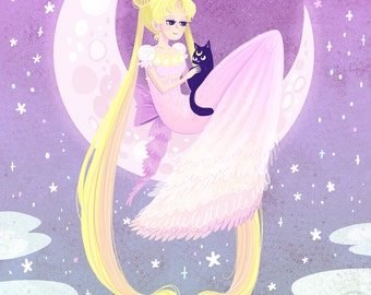 Serene Moon Princess 12x18 art poster