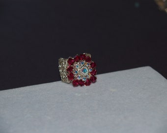 Crochet Silver Wire and Swarovski Crystal Ring