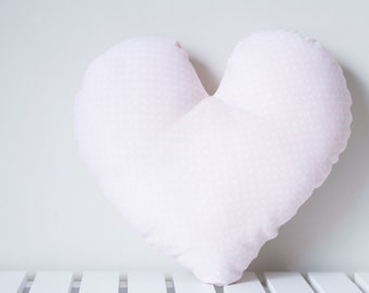 Mini Heart Pillow - Baby Pink & White