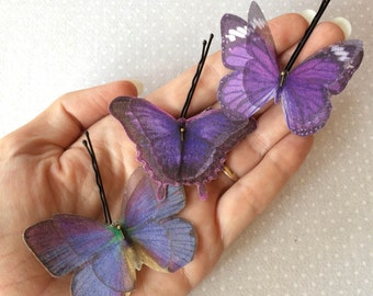 Soft - Handmade Cotton and Silk Organza Lilac Violet Purple Butterflies Hair Bobby Pins - 3 pieces