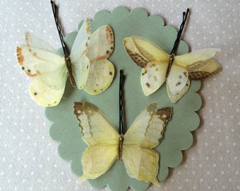 Soft - Handmade Cotton and Silk Organza Pale Green Pale Yellow and Ivory Butterflies Bobby Pins - 3 pieces