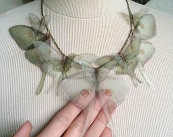 I Will Fly Away - Handmade Luna Moth (Actias Luna) Silk Organza Butterflies Moths and Wings Necklace