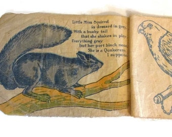 Three antique and primitive linen childrens books - Kittens Picture Book - Book of Pets - Busy Baby - 1910s - Shabby and faded