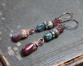 Jasper Turquoise Opal Garnet Earrings ~ Mix Gemstone Earrings ~ Copper Electroformed Nugget ~ Rustic Jewelry Long Fall Fashion Statement