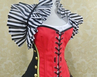 "Military circus/Queen of Hearts corset-to fit 25-28"" natural waist"